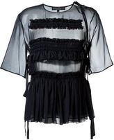 Salvatore Ferragamo sheer smocked blouse
