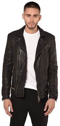 AllSaints Conroy Leather Biker Jacket (Ink Navy) Men's Clothing