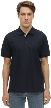 Burberry Cotton Pique Polo Shirt W/ Check Detail