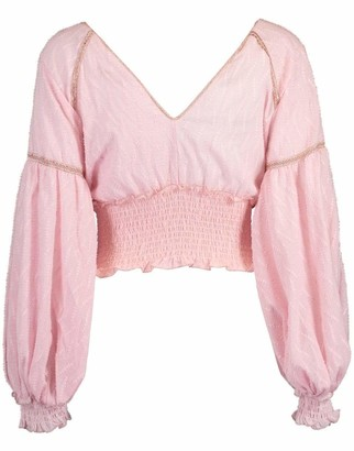 CHIO Embroidered Balloon Sleeve Top