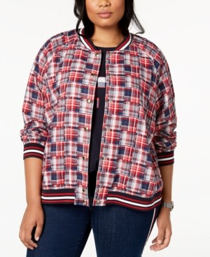 Tommy Hilfiger Plus Size Cotton Patchwork-Plaid Varsity Jacket, Created for Macy's