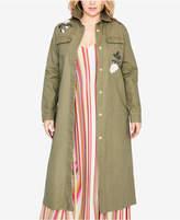 Rachel Roy Trendy Plus Size Cotton Embroidered Duster Jacket