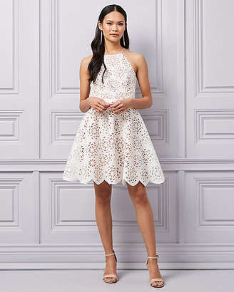 Le Château Laser Cut Knit Halter Neck Dress
