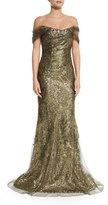 Rene Ruiz Off-the-Shoulder Metallic Gown