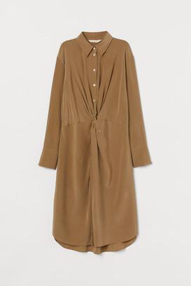 H&M Silk Shirt Dress - Green