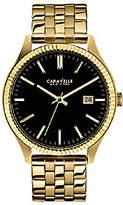 Caravelle New York Men's Black Dial Goldtone Br