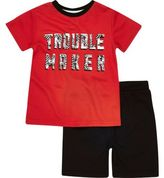 River Island Mini boys red t-shirt and shorts outfit