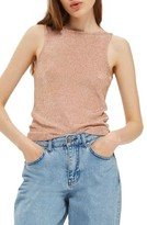 Topshop Women's Metallic V-Back Knit Tank