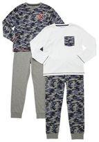 F&F 2 Pack of Camo Print and Plain Pyjamas, Boy's