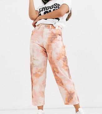 Asos DESIGN Petite Carpenter boyfriend jeans in pastel tie dye-Multi
