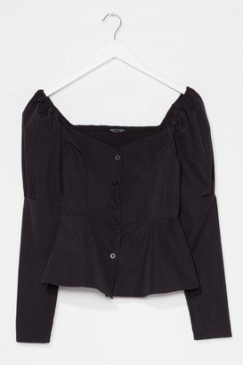 Nasty Gal Womens Keep 'Em Sweetheart Puff Sleeve Button-Down Blouse - Black - 4