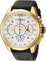 Adee Kaye Men's 'WHIRLLING COLLECTION' Quartz Stainless Steel and Leather Sport Watch, Color:Yellow (Model: AKC8900-MG/LBK-YL)