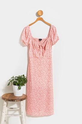 francesca's Laurel Floral Babydoll Midi Dress - Pink