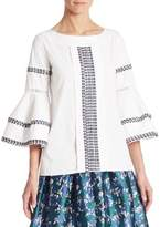 Oscar de la Renta Bell Sleeve Cotton Blouse