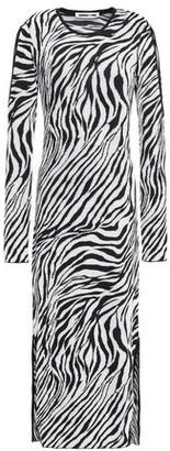 McQ Cutout Zebra-print Jacquard-knit Midi Dress