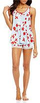 Oscar de la Renta Cherry Bloom Satin & Lace Pajamas