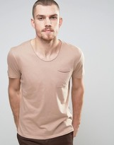 Selected T-Shirt with Raw Hem and Pocket
