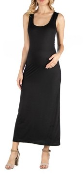24seven Comfort Apparel Scoop Neck Maternity Maxi Dress with Racerback Detail