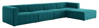 "Modway Bartlett 171"" Wide Reversible Modular Sofa & Chaise with Ottoman Fabric: Teal Polyester Blend"