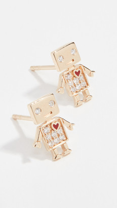 Sydney Evan 14k Gold Love Robot Stud Earrings