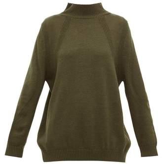 Hanro High Neck Ribbed Wool Sweater - Womens - Dark Green