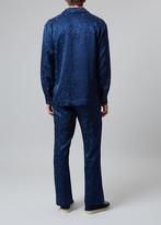 Meng MENG Men S Navy Silk Floral Jacquard Pajama Set