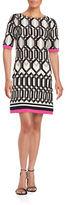 Eliza J Half Sleeve Geo Print Shift Dress