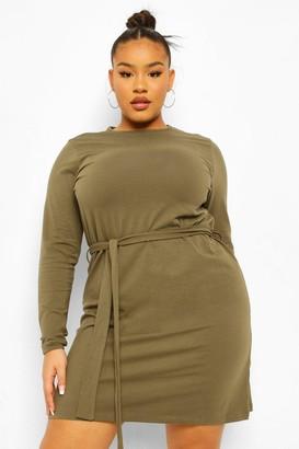boohoo Plus Self Belted Jersey Swing Dress