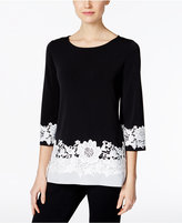 Charter Club Colorblocked Lace-Trim Top, Only at Macy's