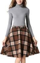 QincLing Women's A-Line Midi Skirt High Waist Plaid Woolen Flare Skirt with Belt
