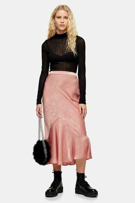 Topshop Womens Pink Satin Flounce Midi Skirt - Pink