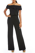 Jones New York Off-The-Shoulder Knit Crepe Jumpsuit