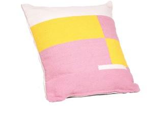 Tiipoi Jamakhan Stripe Handwoven Square Cushion, Pink