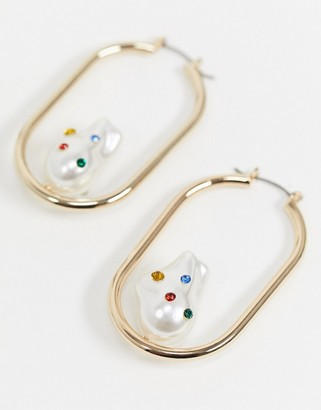 Topshop drop hoop earrings in gold with organic pearl and gems
