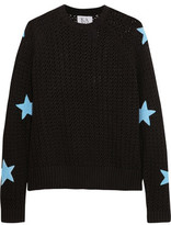 Zoe Karssen Appliquéd Open-Knit Cotton Sweater