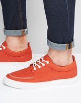 Asos Lace Up Sneakers in Orange Faux Suede