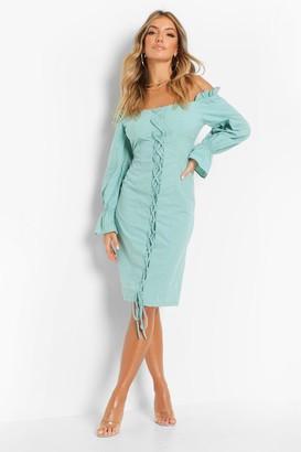 boohoo Lace Up Flare Cuff Midi Dress