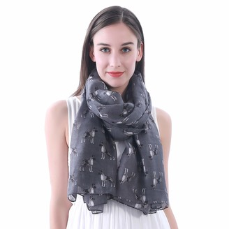 Lina & Lily Boxer Dog Print Women's Large Scarf Shawl (Taupe Grey)(Size: 180cm x 90cm)