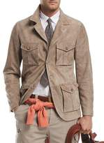 Brunello Cucinelli Suede Safari Jacket with Roll-Tab Sleeves