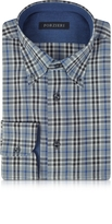 Forzieri Gray & Blue Plaid Cotton Slim Fit Men's Shirt