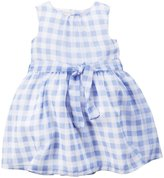 Carter's Check Dress (Baby) - Blue/White-12 Months