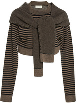 Isa Arfen Wrap Sleeve Cropped Wool Sweater