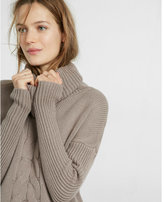 Express cable knit cowl turtleneck sweater