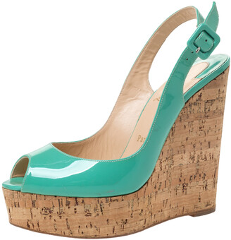 Christian Louboutin Florescent Green Patent Leather Une Plume Peep Toe Slingback Cork Wedges Size 38.5