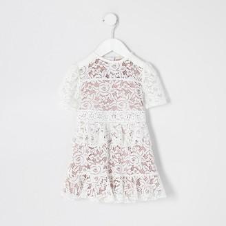 River Island Mini girls white lace skater dress