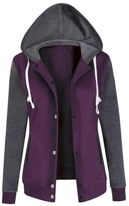 Tuduz Sweatshirt Women's Hoodies TUDUZ New Womens Long Sleeve Baseball Jacket Hoodie Sweatshirt Outdoors Sports Workout Gym Golf Causal Hooded Coat Tops Blouse(Black L)