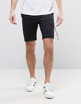 Asos Skinny Cargo Shorts With Strap Pockets In Black