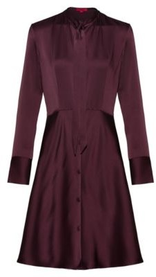 HUGO BOSS Slim Fit Shirt Dress With Bow Neckline - Red