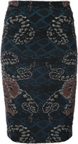 Yigal Azrouel woven serpent jacquard skirt