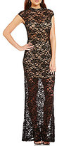 B. Darlin Cap-Sleeve Mockneck Illusion Yoke Lace Long Dress